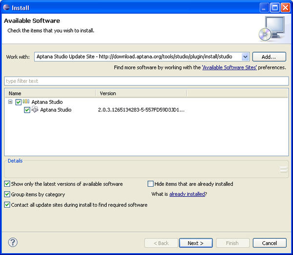 Eclipse Installation Screen for the Aptana Suite Plugin