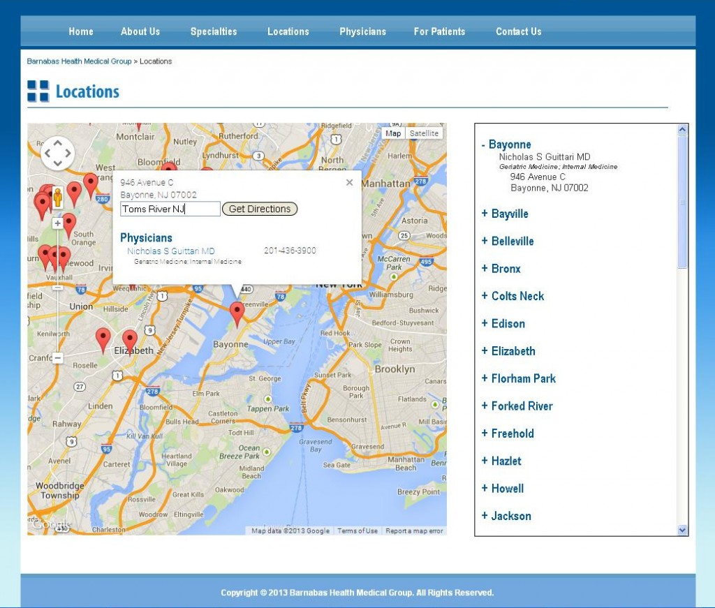 Barnabas Health Medical Group - Locations Page - Map Info Box