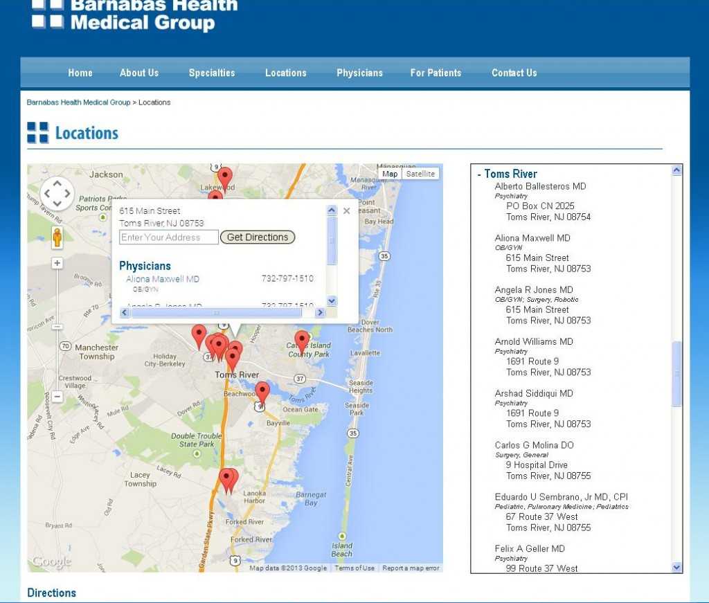 Barnabas Health Medical Group - Toms River Locations