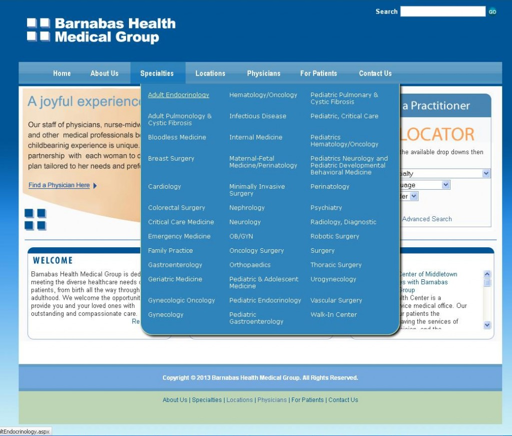 Barnabas Health Medical Group - Megamenus