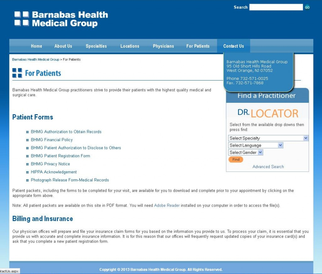 Barnabas Health Medical Group - For Patients & Contact Us
