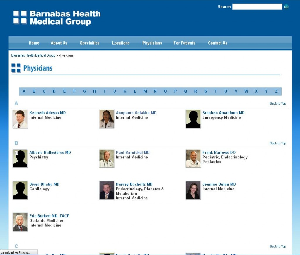 Barnabas Health Medical Group - Physician List