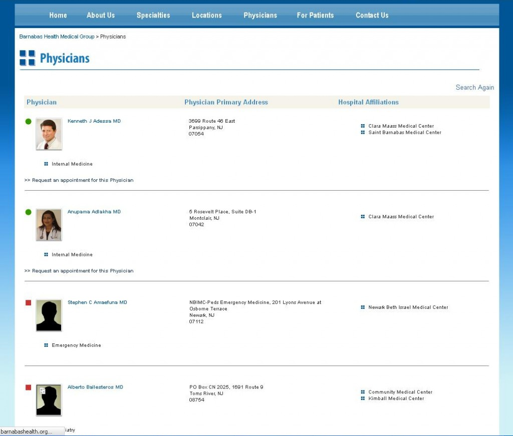 Barnabas Health Medical Group - Physician Listing