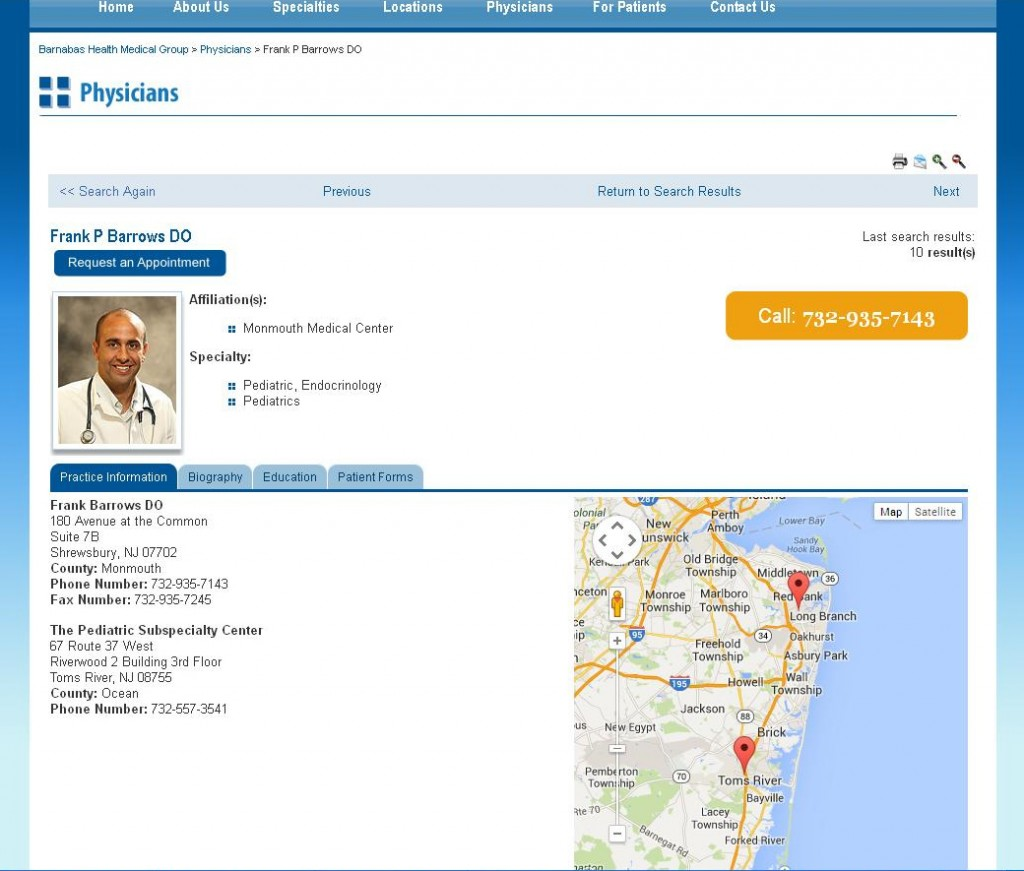 Barnabas Health Medical Group - Physician Detail Page