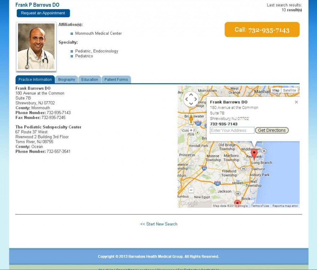 Barnabas Healrth Medical Group - Physician Detail Page Map Info Box