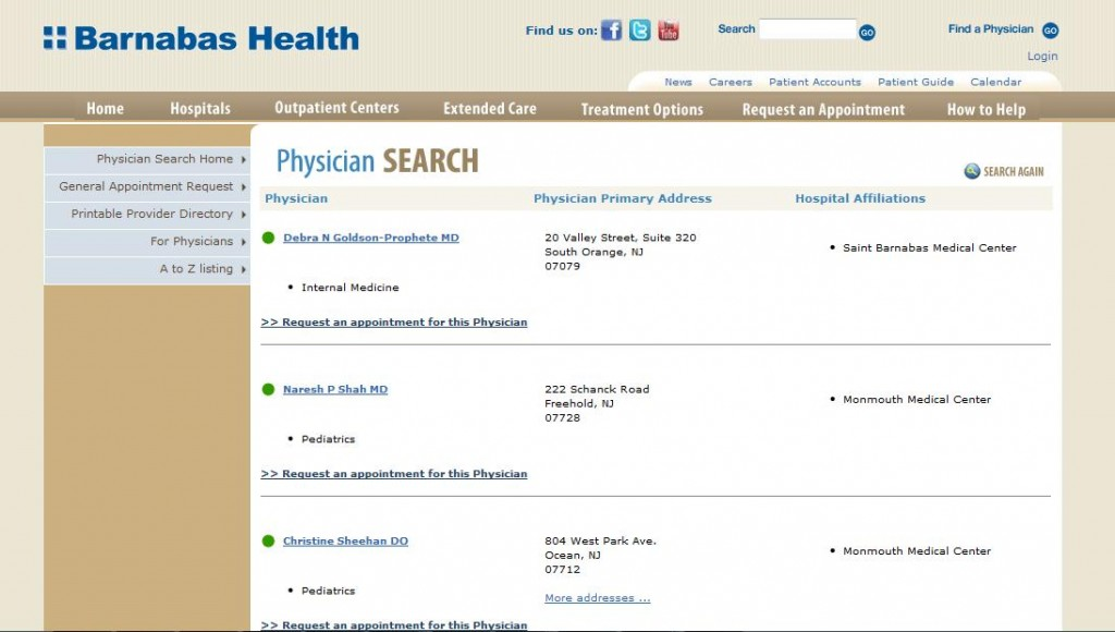 Barnabas Health - Old Physician Listing