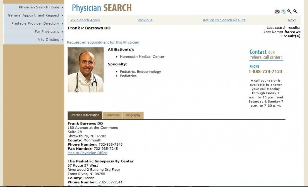 Barnabas Health - Old Physician Detail Page
