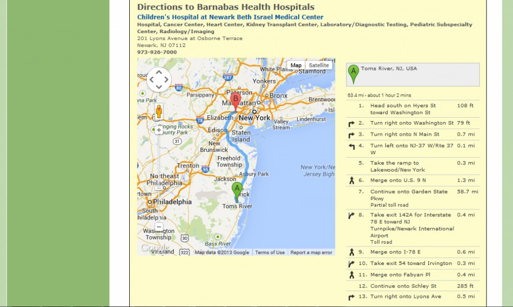 Barnabas Health Mapping - Display Directions