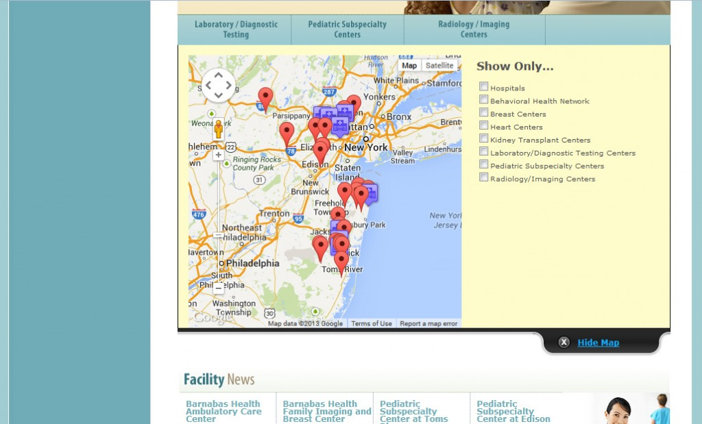 Barnabas Health Outpatient Center Mapping