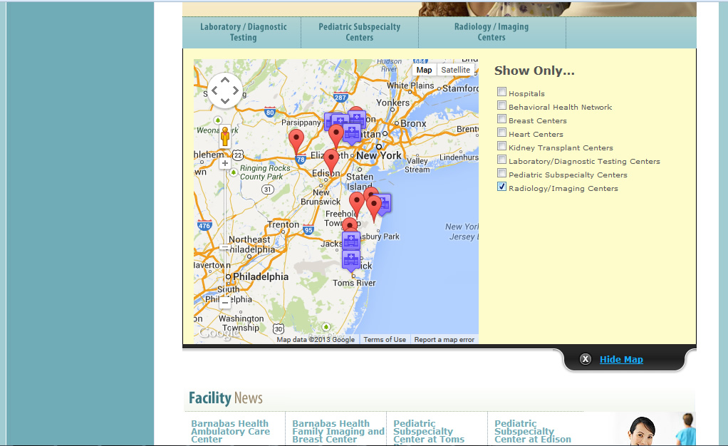 Barnabas Health Outpatient Center Mapping - Facility Type Displayed