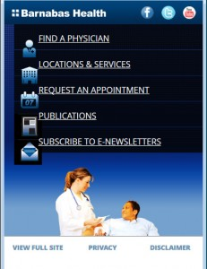 Barnabas Health Mobile Website - Main Page