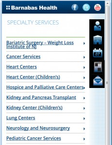 Barnabas Health Mobile - Specialty Services Listing
