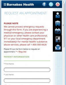 Barnabas Health Mobile - Appointment Request Form