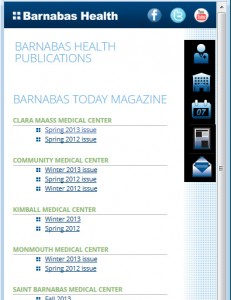 Barnabas Health Mobile - Online Magazine Listing Page