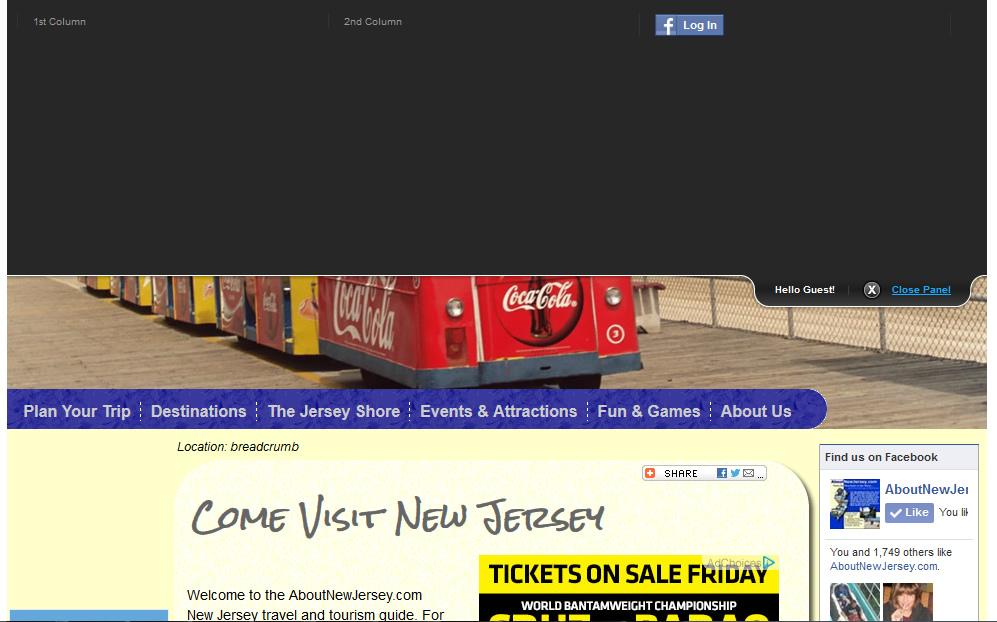 AboutNewJersey.com - Login In Tab