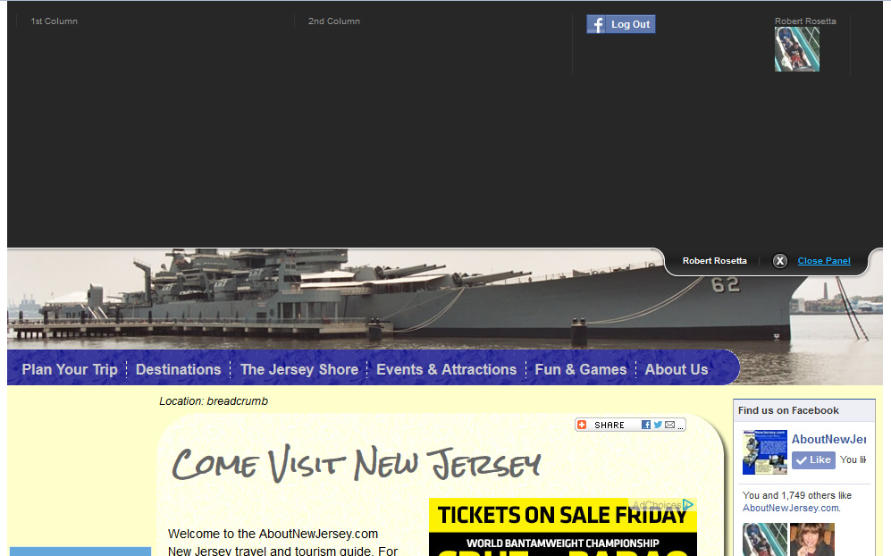 AboutNewJersey.com - Logged In