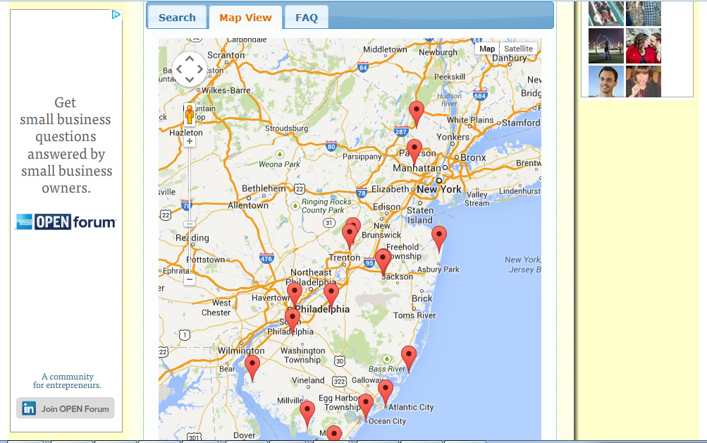 AboutNewJersey.com - Attraction Listing Map Tab