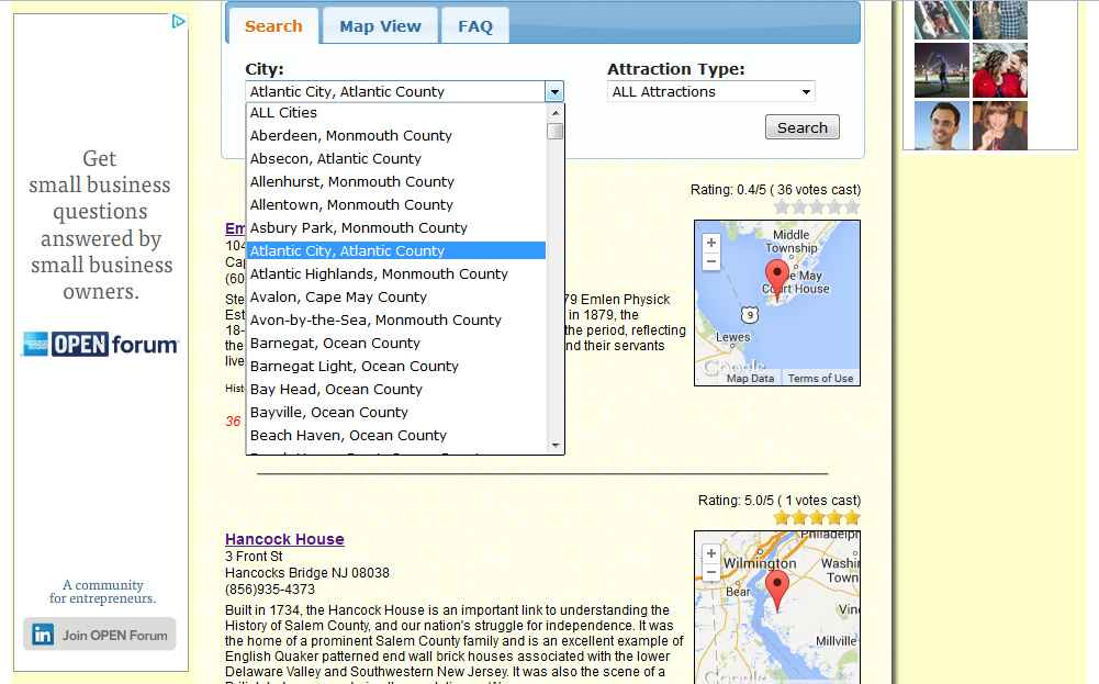 AboutNewJersey.com - Attraction City Search