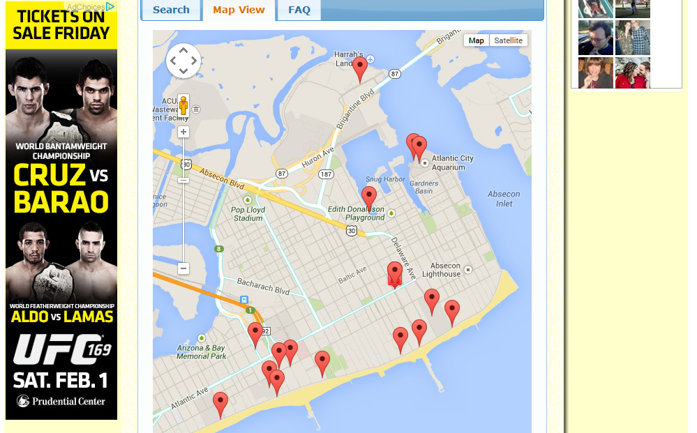 AboutNewJersey.com - Attractions City Map View