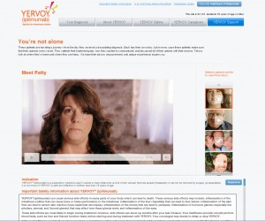 Yervoy Patient Profiles carousel and video player.