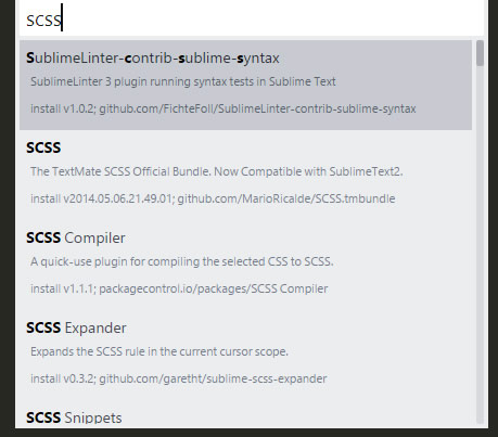 Sublime Text3 Package Control List - SCSS