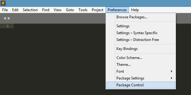 Sublime Text3 Preferences - Package Control menu item