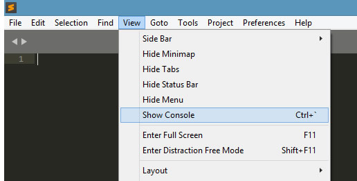Sublime Text3 - View - Show Console menu item