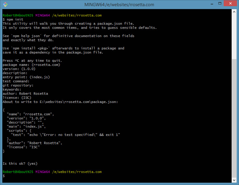 Create Pacakge.json file