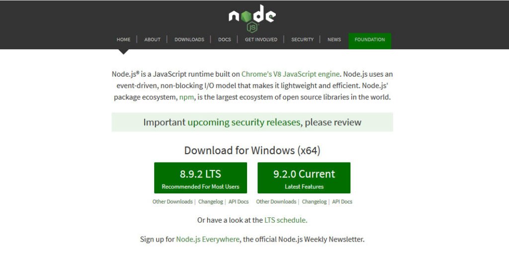 Node.js Website Homepage