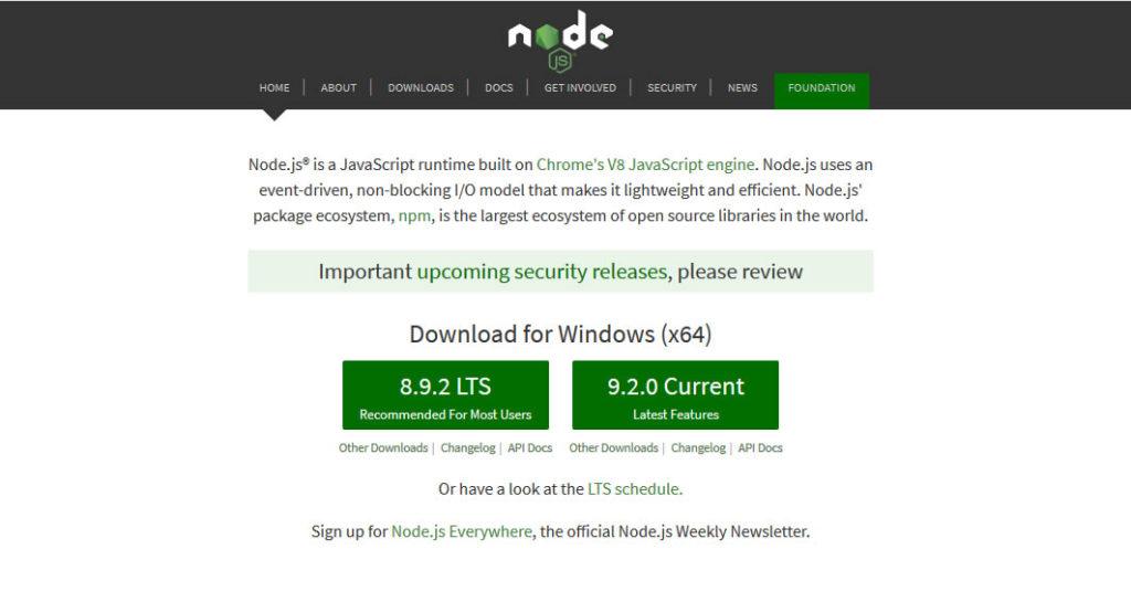 Node.js Website Homepage